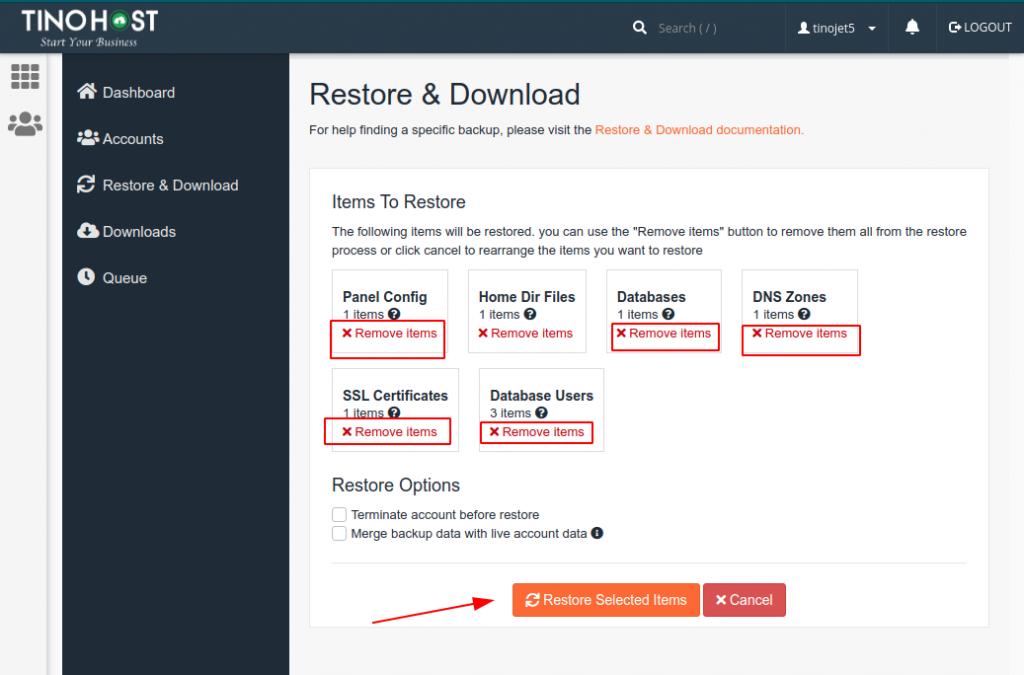 Hướng dẫn restore dữ liệu Hosting trên JetBackup 5 21